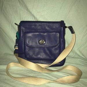 COACH blue leather crossbody bag